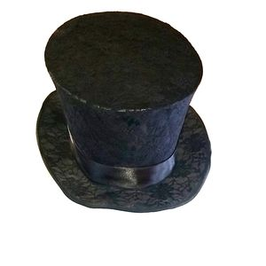 Steampunk Gothic Victorian  Black Lace Top Hat